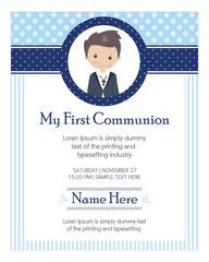 My first communion boy. Invitation design for a boy communion