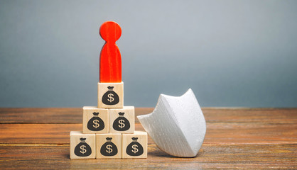 Wooden blocks with money, man and protection shield. Concept security of money, guaranteed deposits. Client rights protection. Compensation for losses in inflation, safeguarded investment capital.