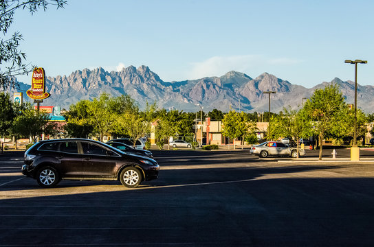 Las Cruces, USA - July 26, 2015: Organ Mountains in New Mexico in downtown city shopping center parking lot