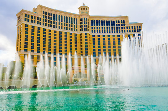 Las Vegas, USA - May 7, 2014: Bellagio hotel dancing fountains during day in Nevada with show