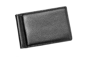 Black leather new trendy wallet on isolated background