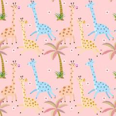 Cute giraffe and palm tree seamless pattern.