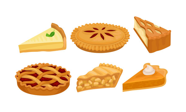 Homemade Cartoon Pies And Cakes With Fruits And Cream Vector Illustration Set Isolated On White Background