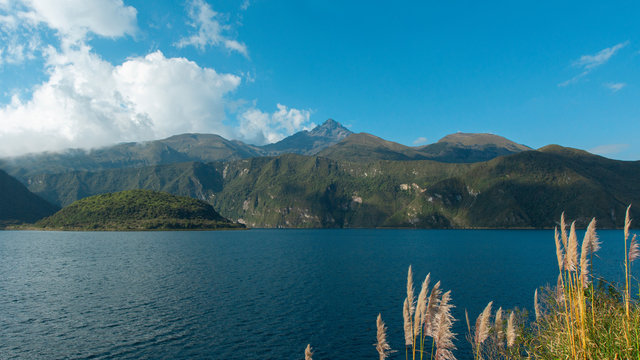 View of the Cotacachi volcano from the edge of the Cuicocha lagoon