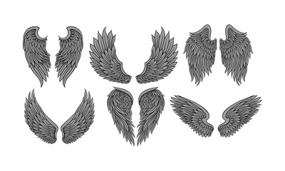 Set Of Six Pairs Of Wings In Tattoo Style Flat Vector Illustration