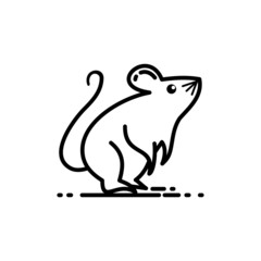 Rat – mouse icon, isolated on white background. Design with black line Vector, suitable for element of Happy Chinese New Year 2020