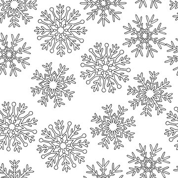 Hand drawn snowflakes, coloring page, seamless pattern