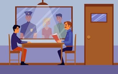 Police interrogation room interior with cartoon policeman questioning suspect
