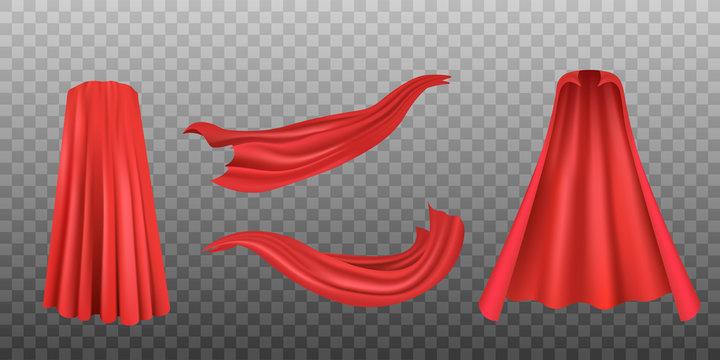Set of red superhero cloaks or fabrics, realistic vector illustration isolated.