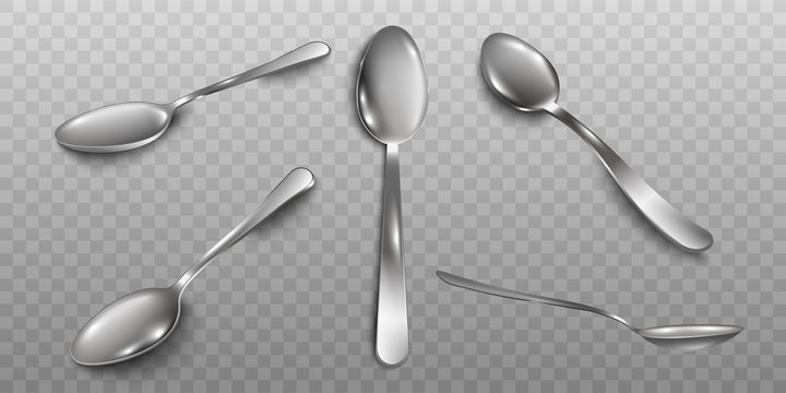 Set of different angles of metal spoons realistic vector illustration isolated.