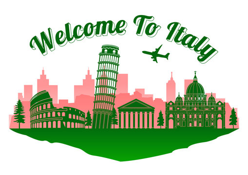 Italy top famous landmark silhouette style on island, welcome to Italy text,travel and tourism,vector illustration,flag color desisn
