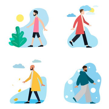 A set of dressed men in different seasons and different weather conditions. Men are dressed differently in winter, spring, summer and autumn. Minimalism. Clothing for all seasons. Flat cartoon style