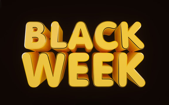 Black Friday Week Sale Logo, yellow and black. Black Friday Sale. Banner, poster, logo golden color on dark background with gold bokeh 3D light effects.