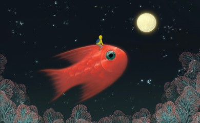 Fantasy scene boyriding red giant fish to the moon in starry night landscape, fantasy illustartion, freedom, painting, imagination