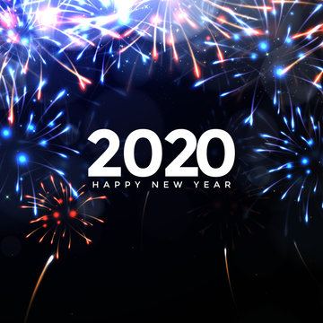 fireworks, Happy New Year 2020 logo text design. 2020 wishes, Happy New Year  2020, Celebrating 2020, card, banner. Vector illustration