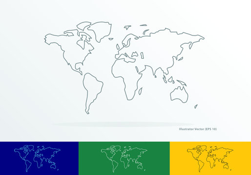 vector outline map of the world