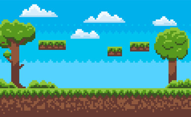 Landscape page of pixel game, green trees and bushes, cloudy sky, underground and grass, road with steps, adventure platform, nobody poster vector. Pixeleted background for video-game or app 8bit game