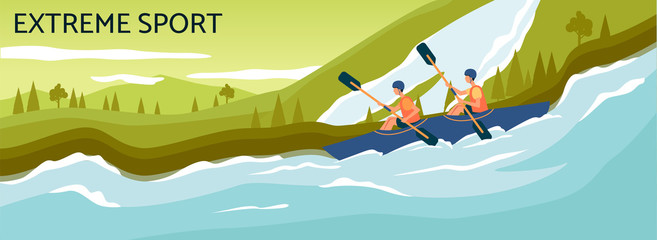 Extreme sport banner - cartoon people kayaking in strong river stream and rowing with paddles.