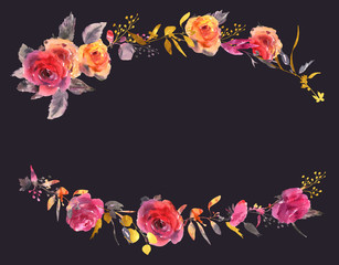 Gentle watercolor rose floral wreath in a la prima style. Red, yellow, gold watercolor roses - flowers, twigs, leaves, buds