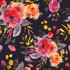 Watercolor floral seamless pattern. Red, yellow, watercolor roses - flowers, twigs, leaves, buds