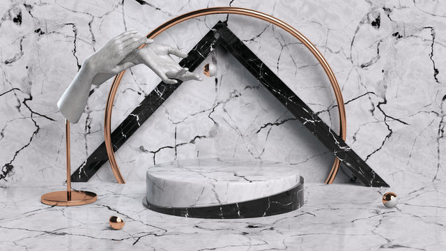 Marble geometric background and hand sculpture elements, marble textured round podium, black and white stone pedestal, 3d illustration.