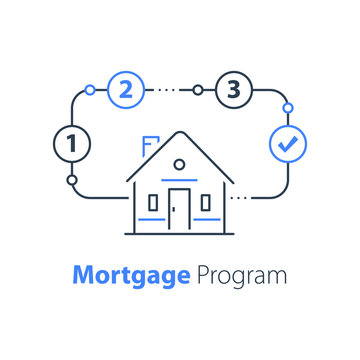Mortgage loan, house insurance, real estate concept, household plan