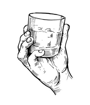 Glass of whiskey in hand. Hand drawn illustration converted to vector