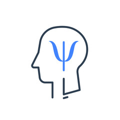 Human head profile and psychology symbol, mental health, help and development