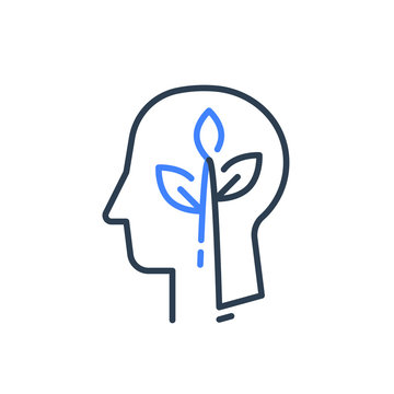 Human head profile and plant stem, cognitive psychology or psychiatry concept, mental health