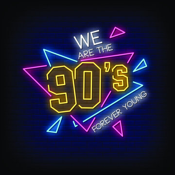 90's Party Neon Signs Style Text Vector