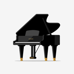 Black grand piano. Vector illustration in flat style.