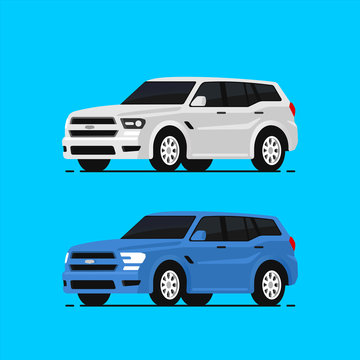 Car suv vector illustrayion in flat style. Auto side view. Blue and white automobile isolated.