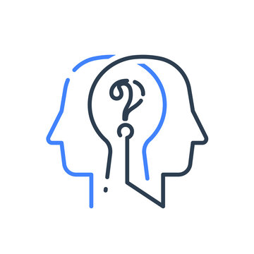 Human head profile and question mark, cognitive psychology or psychiatry, self questioning