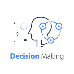 Decision making, neurology or behavior concept, brain research