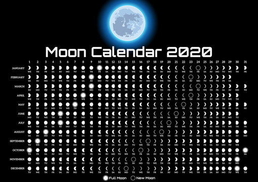 Printable template with lunar calendar and colored moon