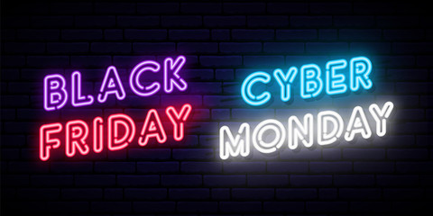 Set of Black Friday and Cyber Monday neon designs. Concept vector template for promo and discount advertising. Web and social media banner.