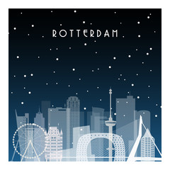 Spoed Fotobehang Rotterdam Winter night in Rotterdam. Night city in flat style for banner, poster, illustration, background.