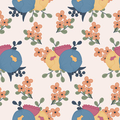 Elegant colorful flowers in a seamless pattern design