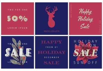 Illustrated Holiday Social Media Post Layout Set