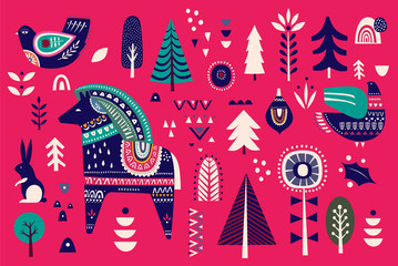 Fotomurales - Christmas decorative illustration with little horse on red background. Scandinavian folk style.