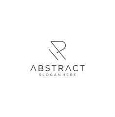 R Monogram Letter Logo With Thin Black Monogram Outline Contour. Modern Trendy Letter R Design Vector Illustration.