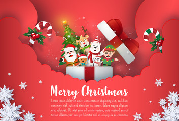 Origami Paper art of Christmas postcard banner Santa Claus and cute cartoon character in gift box, Merry Christmas and Happy New year