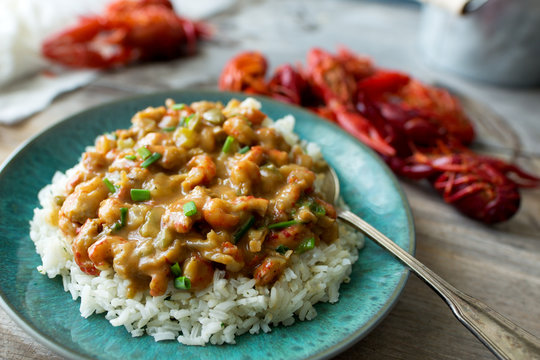 Cajun crawfish etouffee, close up view and shallow depth of field, whole crawfish in the background.