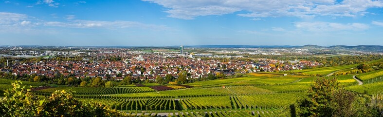 Germany, XXL panorama aerial view above skyline, roofs, houses, tower and vineyard of city fellbach near stuttgart in autumn season on sunny day