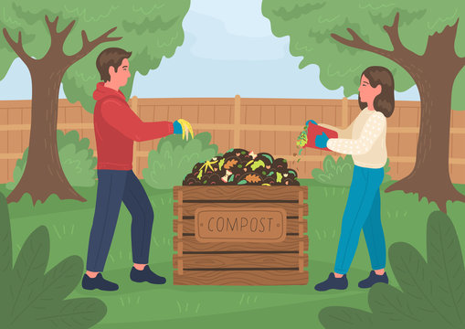 Composting. Man and woman making compost outdoors in the garden. Recycling concept.