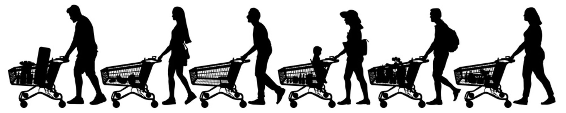People with shopping carts. Vector silhouette set