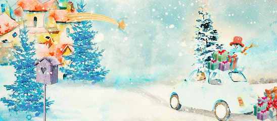 Christmas time. Watercolor banner.