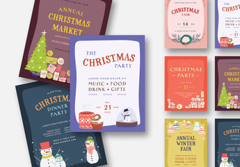 Illustrated Christmas Event Flyer Layout Set