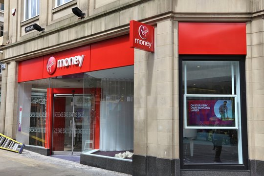 SHEFFIELD, UK - JULY 10, 2016: Virgin Money branch in Sheffield, Yorkshire, UK. The banking and mortgage financial specialist Virgin Money is part of Virgin Group and has 75 offices.