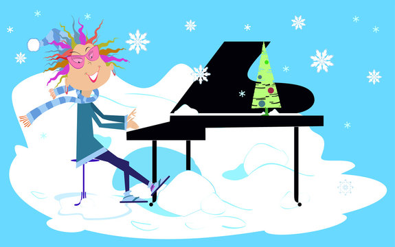 Winter piano concert illustration.  Smiling pianist woman is playing music under the falling snow
